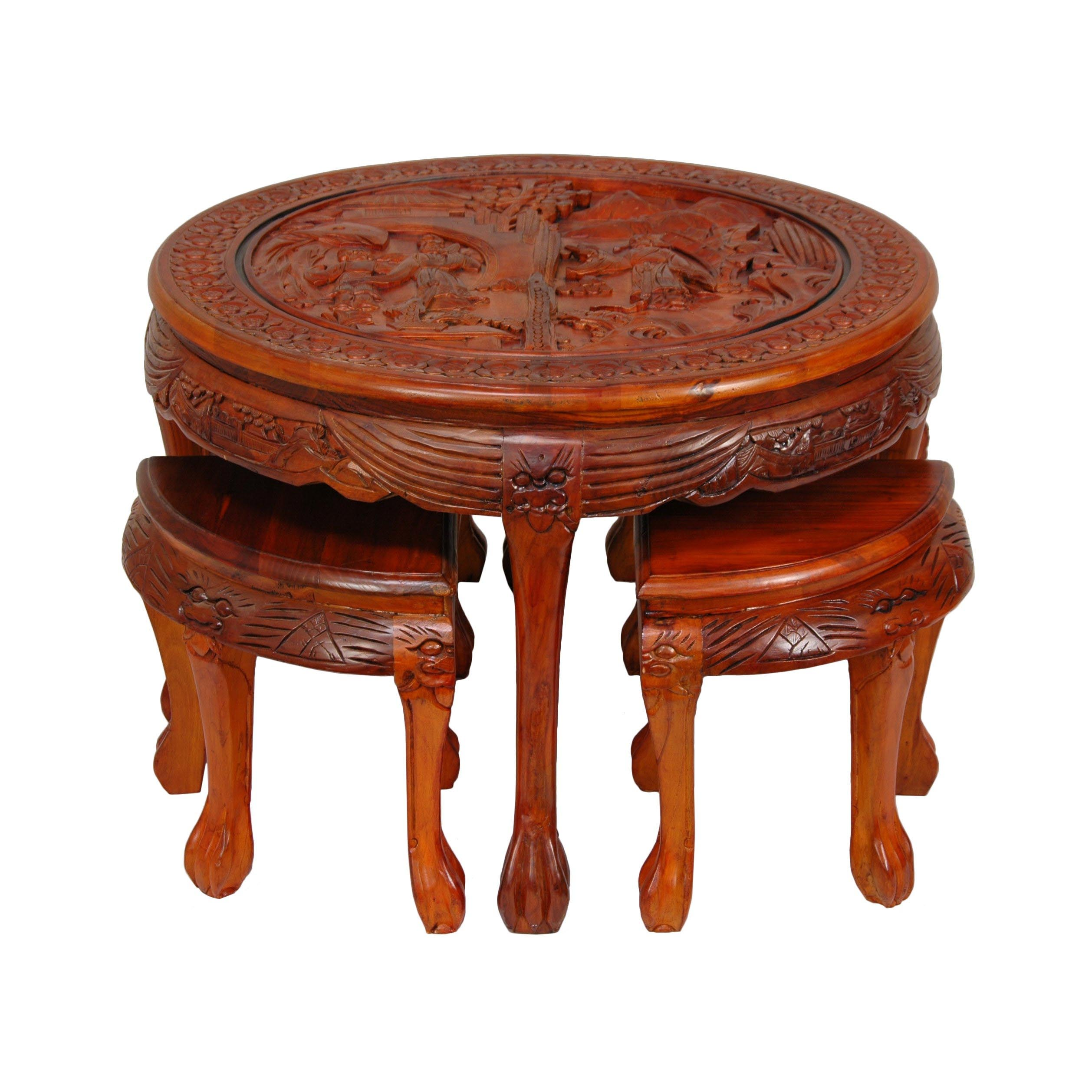 Asian Coffee Table With Stools