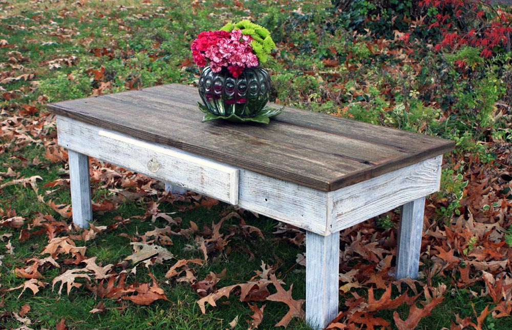Blue Distressed Coffee Table