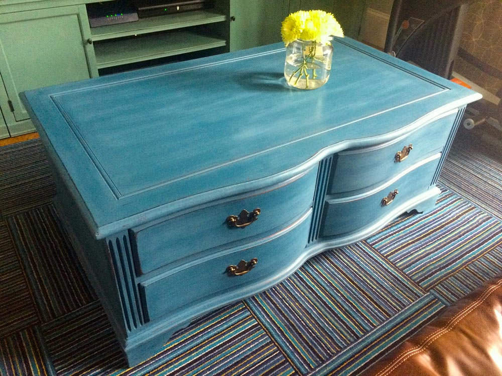 Blue painted coffee table coffee table design ideas for Painted coffee table ideas