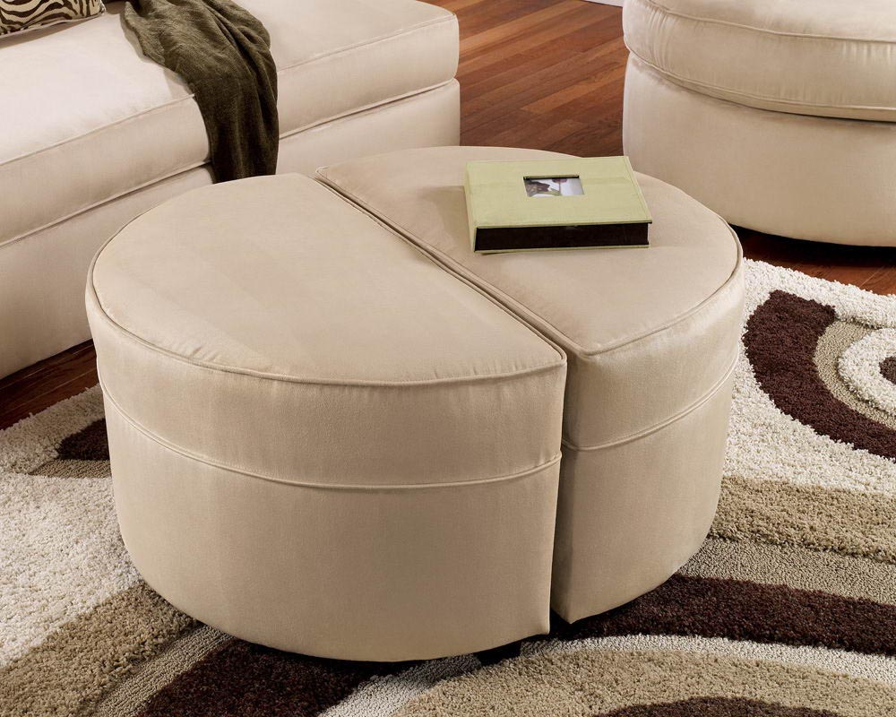 coffee table with ottoman seating underneath | coffee table design