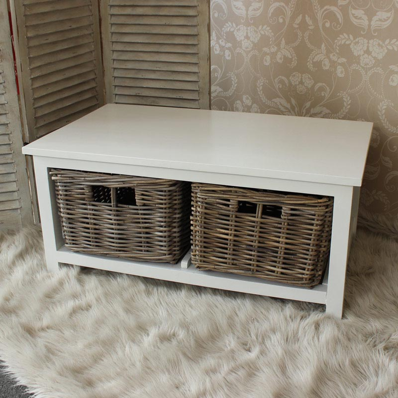 Coffee Table with Wicker Drawers