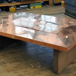 Copper and Wood Coffee Table