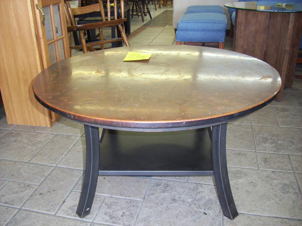 Copper round coffee table coffee table design ideas Round espresso coffee table