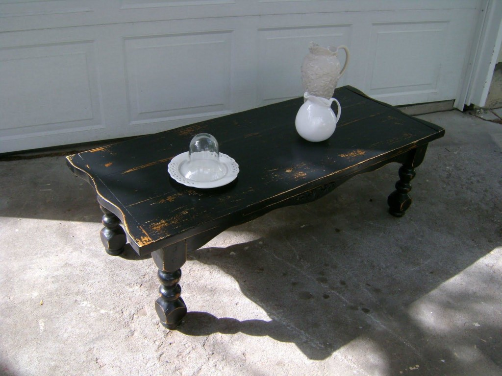 Distressed Black Coffee Table