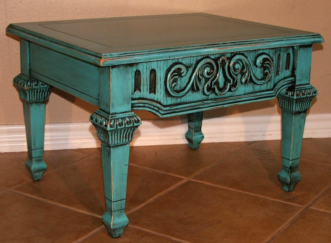 Distressed Turquoise Coffee Table