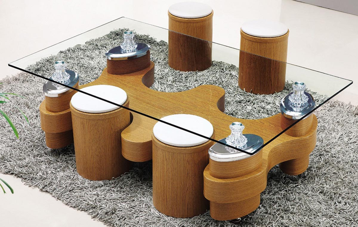 Asian Coffee Table with Stools Glass Coffee Table with Stools ... - Glass Coffee Table With Stools Underneath Coffee Table Design Ideas