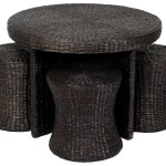 Rattan Coffee Table with Stools