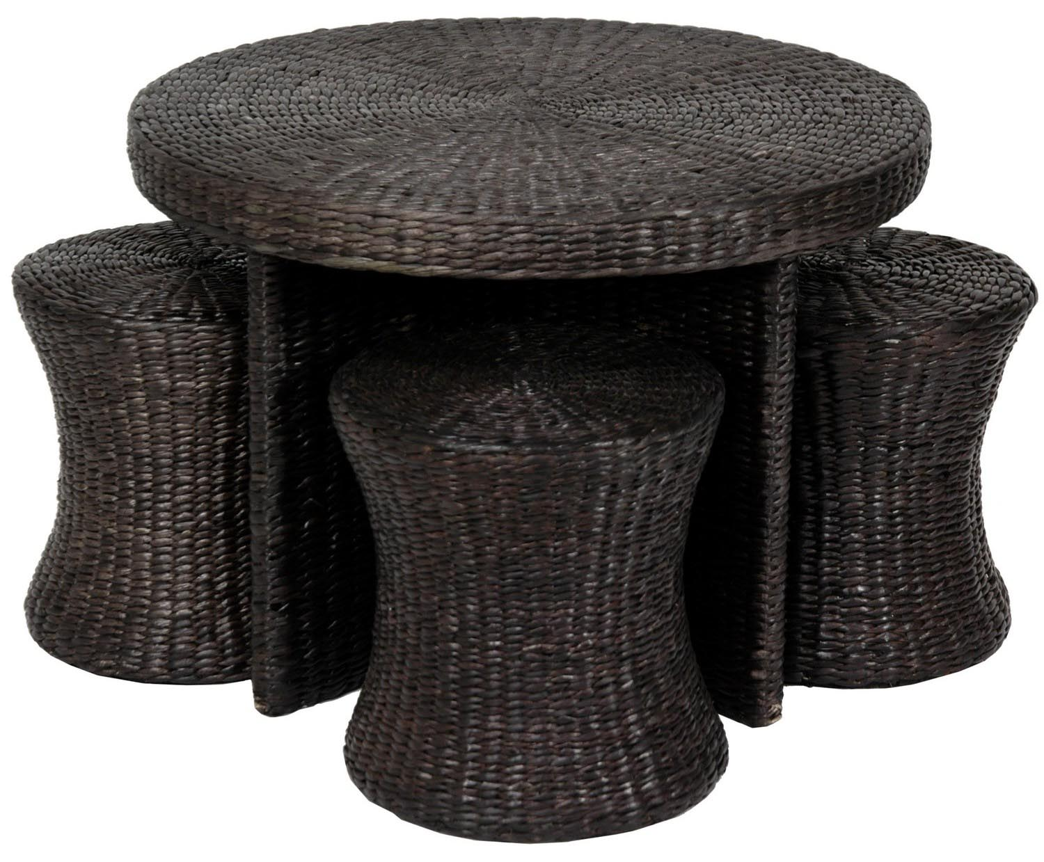 Rattan Coffee Table With Stools Design Ideas