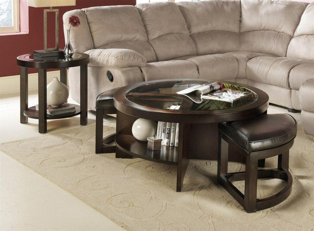 Round coffee table with stools underneath coffee table for Coffee table with stools underneath