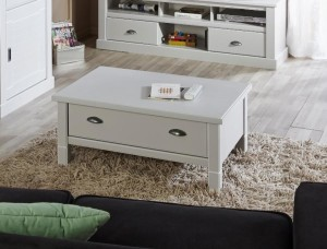 White Coffee Table with Drawers