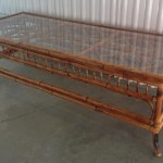 Bamboo Coffee Table Glass Top