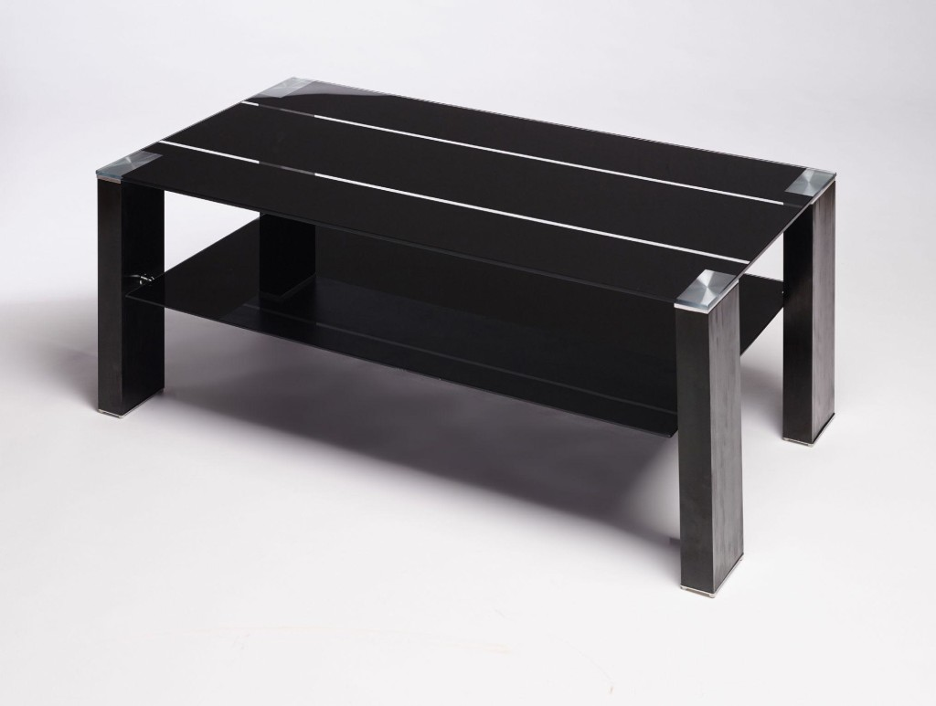 Black Glass Coffee Table Contemporary Modern Retro