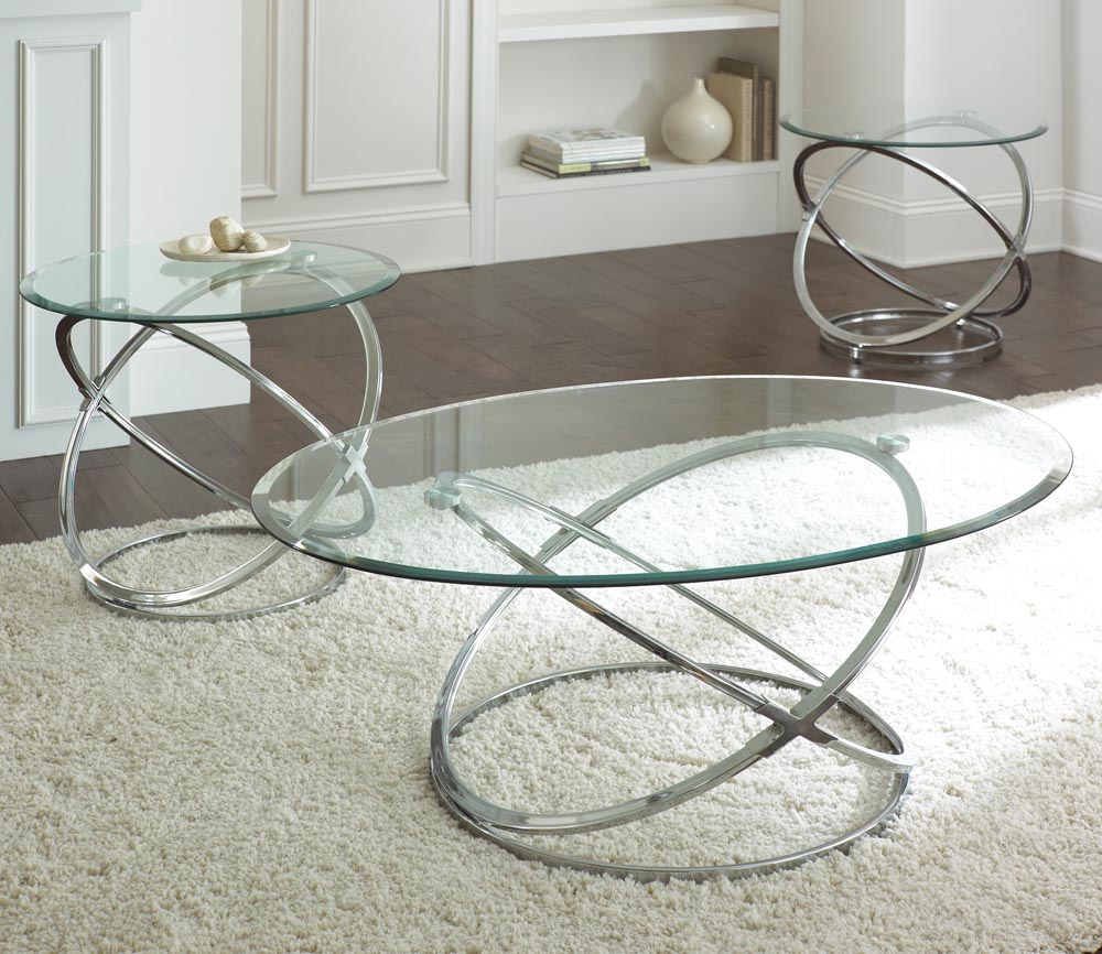 Glass Coffee Table with Silver Base