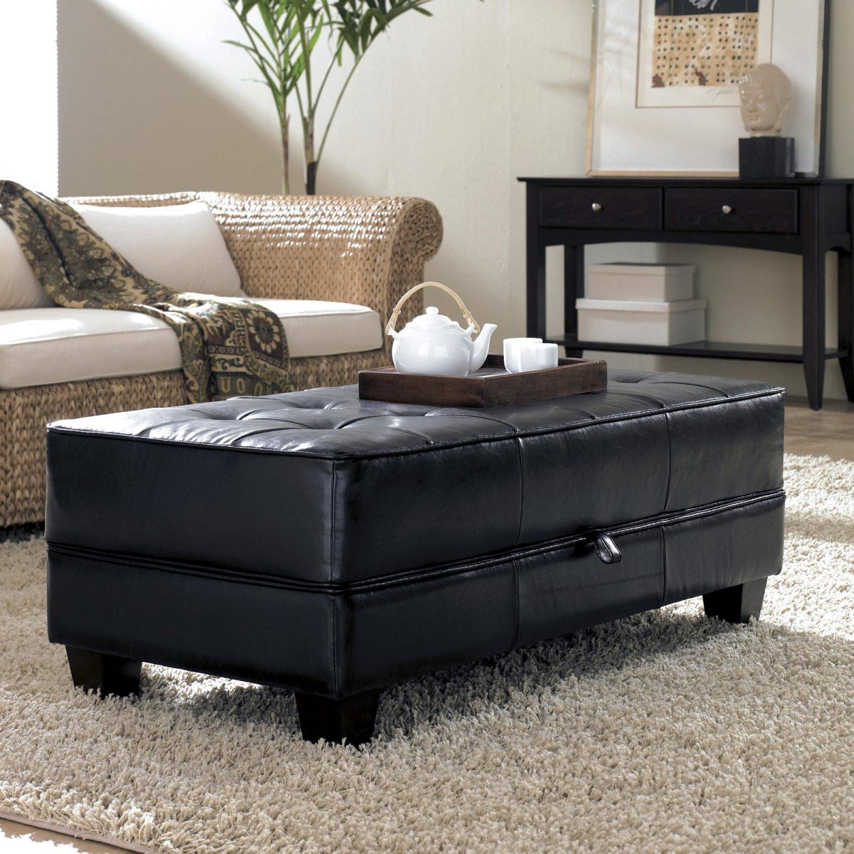 Large Leather Coffee Table
