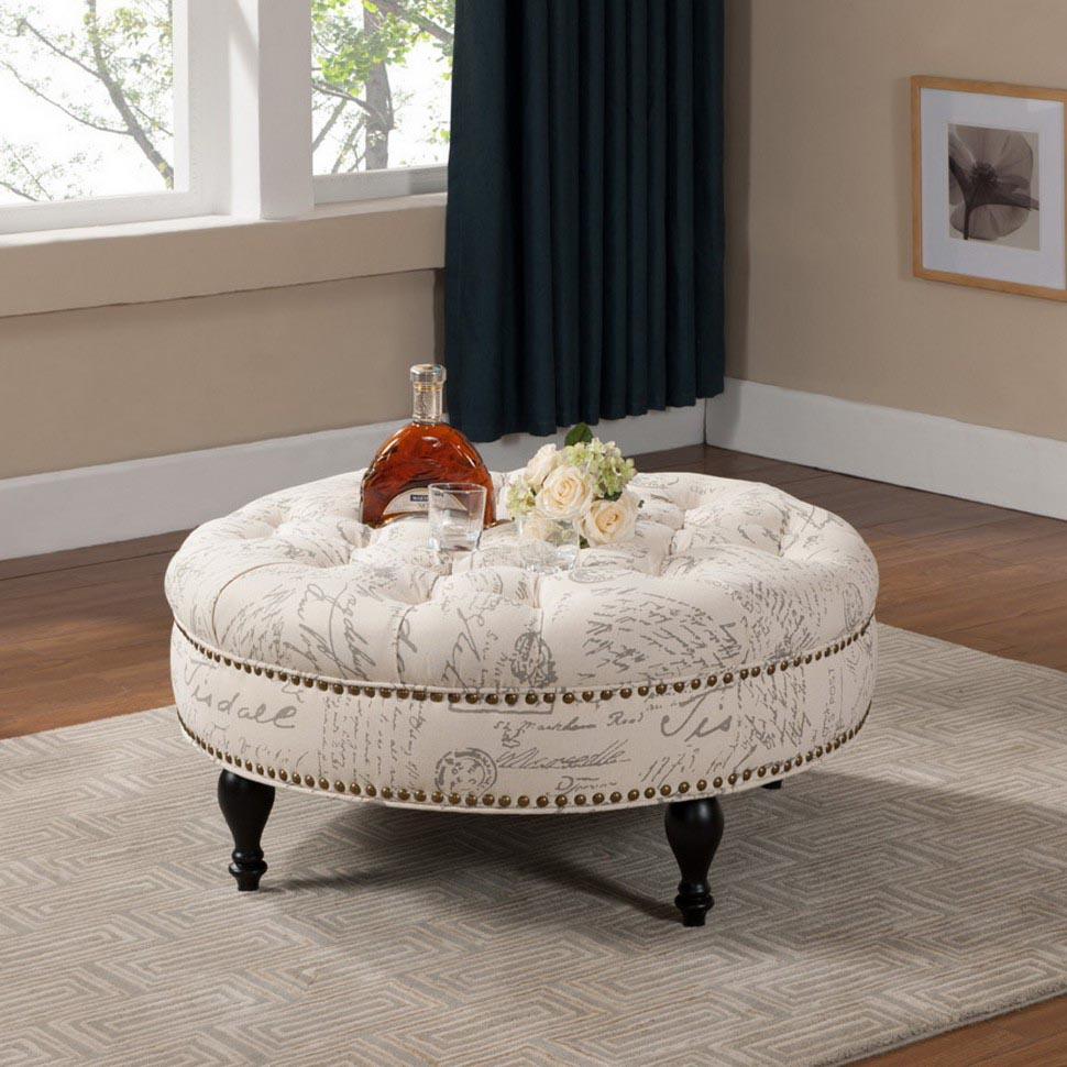 Round Upholstered Coffee Table Design Ideas