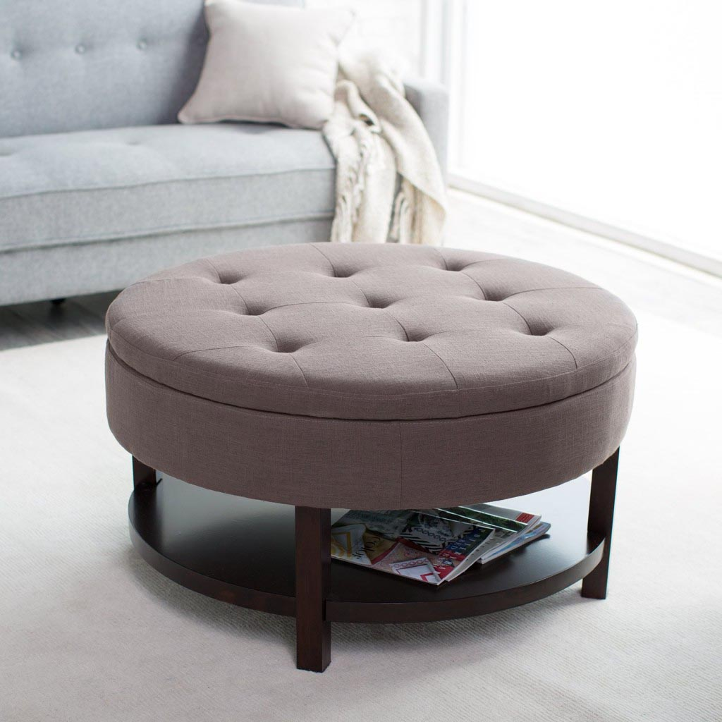 Round Upholstered Ottoman Coffee Table Coffee Table Design Ideas