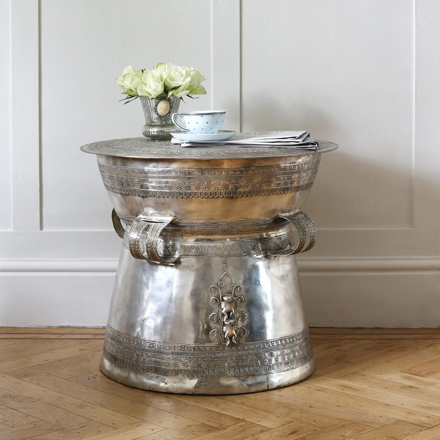 Silver tree trunk coffee table coffee table design ideas silver drum coffee table geotapseo Images