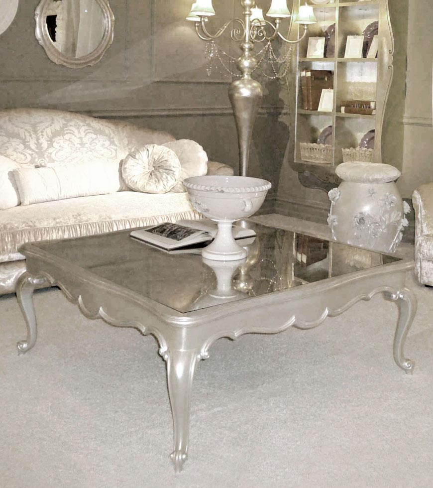 Antique silver coffee table coffee table design ideas silver leaf coffee table geotapseo Image collections