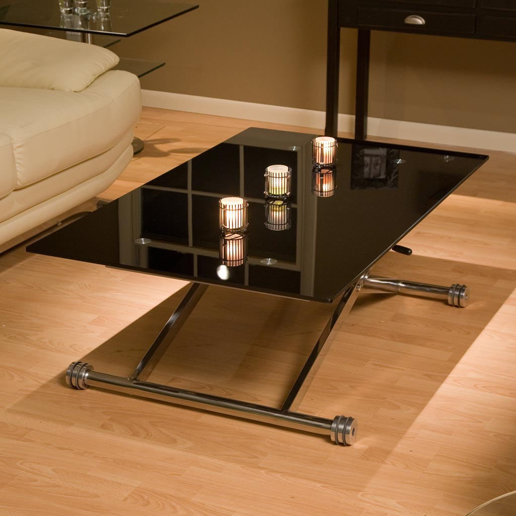 Adjustable Height Glass Coffee Table