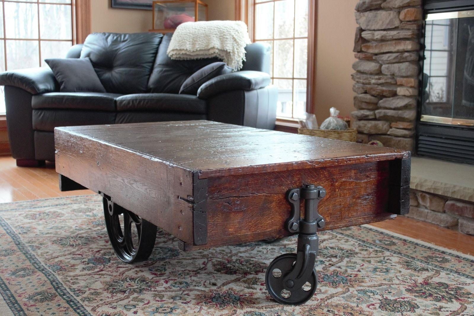Antique coffee table with wheels coffee table design ideas Antique wheels for coffee table
