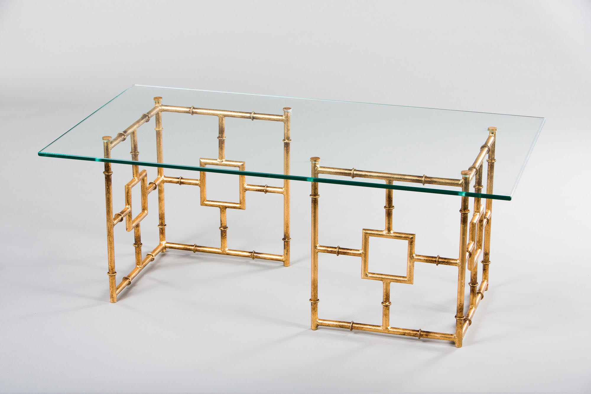 Antique Gold and Glass Coffee Table