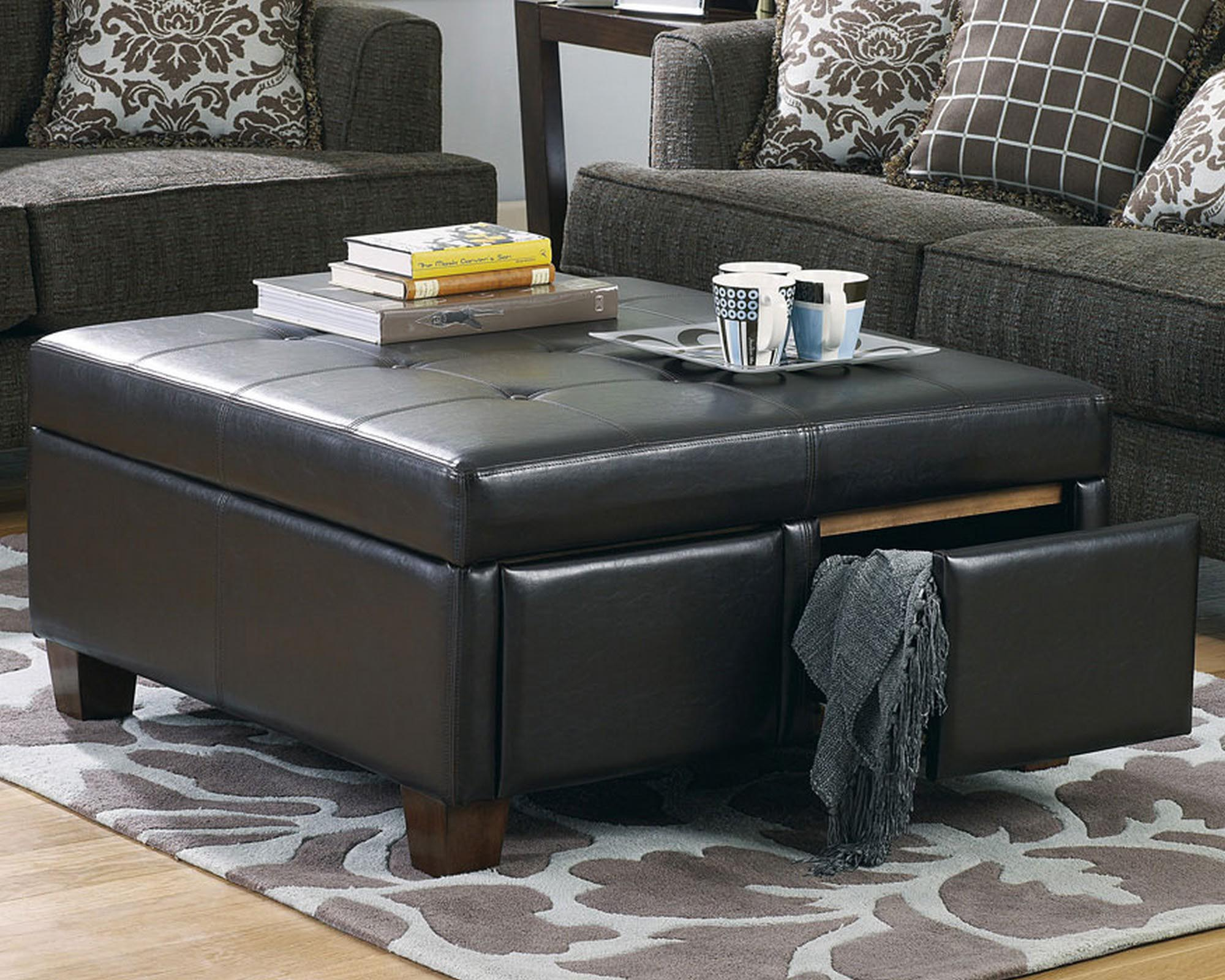 Black Leather Ottoman Coffee Table Design Ideas