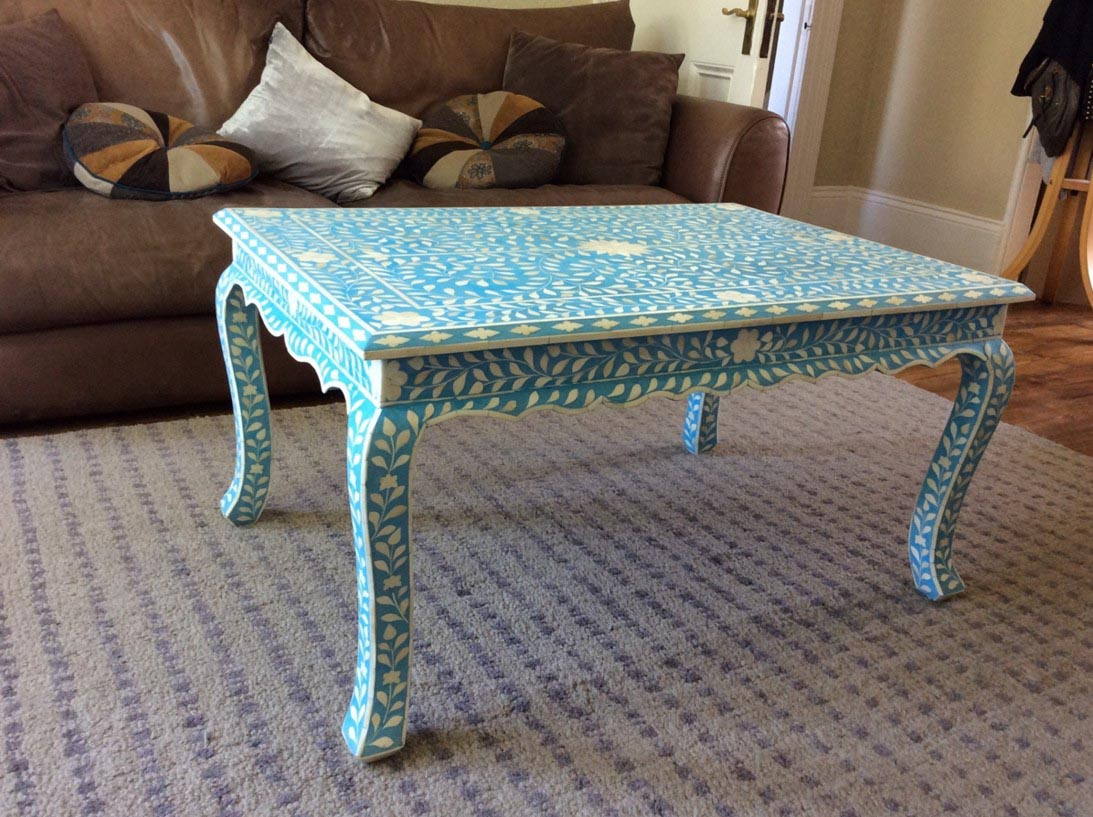 Blue Bone Inlay Coffee Table