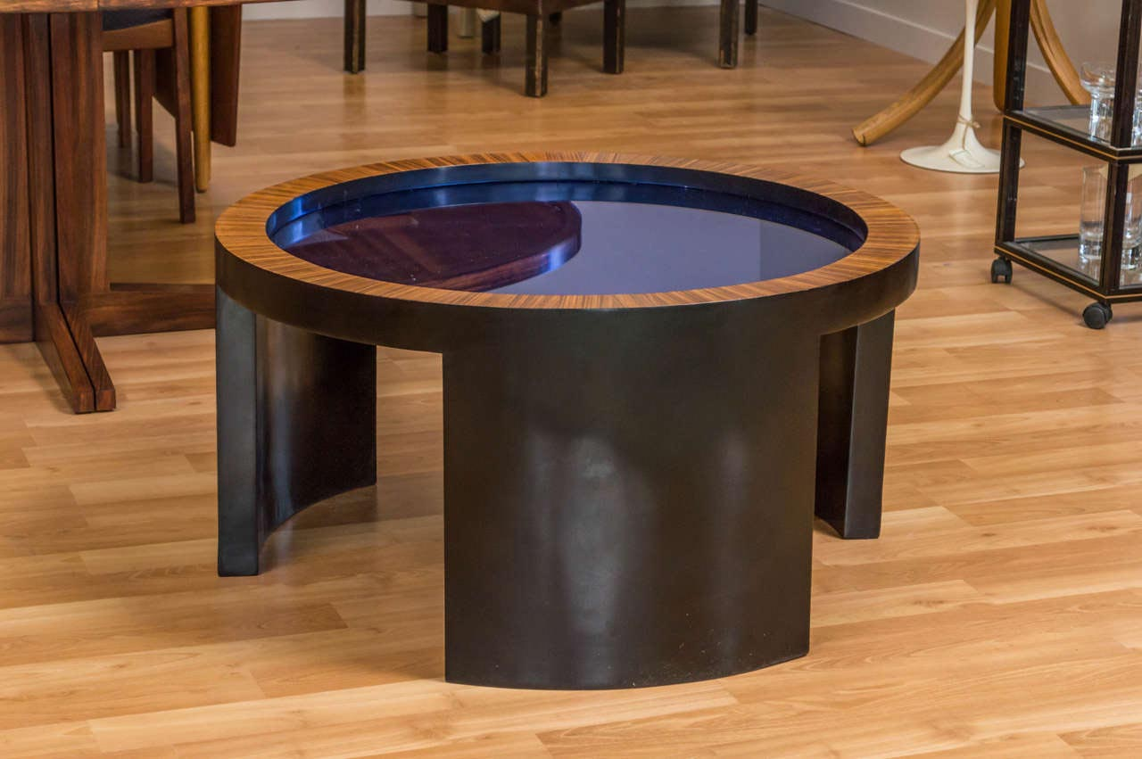 Blue Glass Top Coffee Table