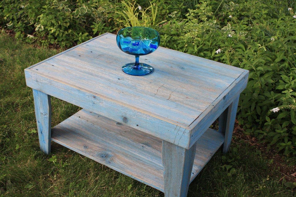 Blue Rustic Coffee Table