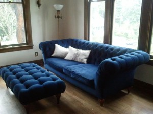 Blue Tufted Ottoman Coffee Table