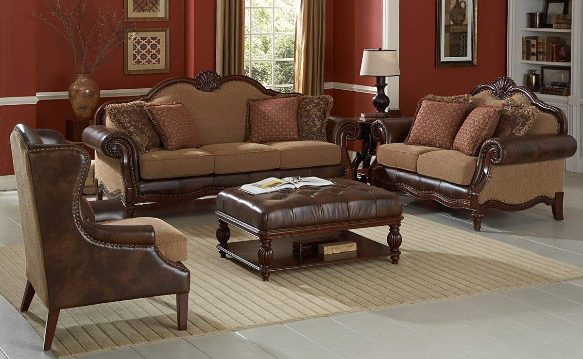 Brown Leather Coffee Table Ottoman