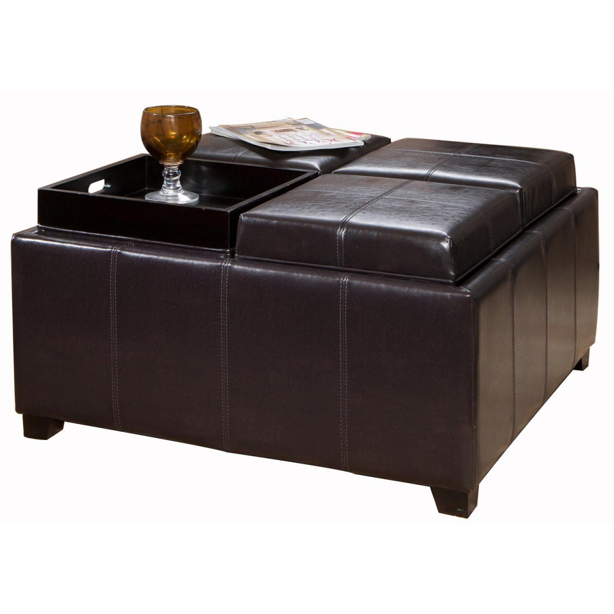 Coffee table leather ottoman coffee table design ideas Ottoman coffee table trays