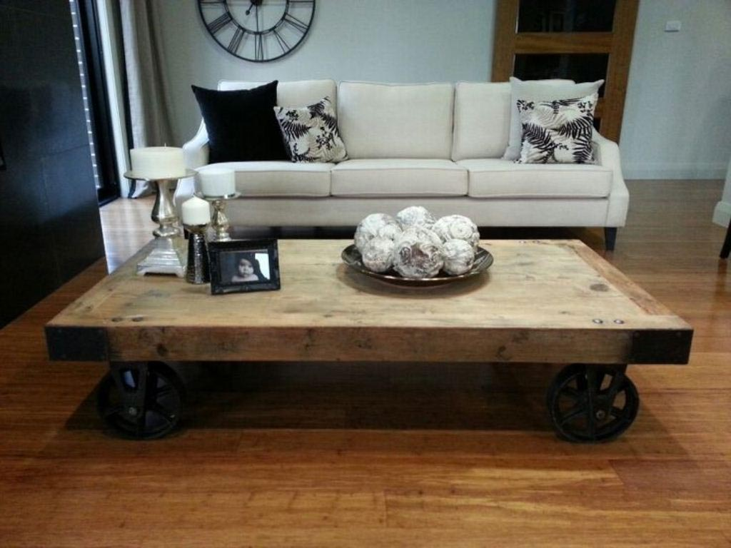 Coffee Table Rustic Wheels