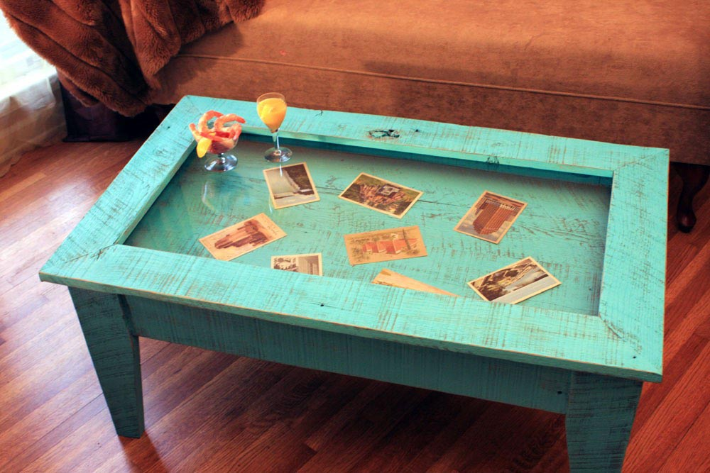 Coffee Table with Glass Display Top