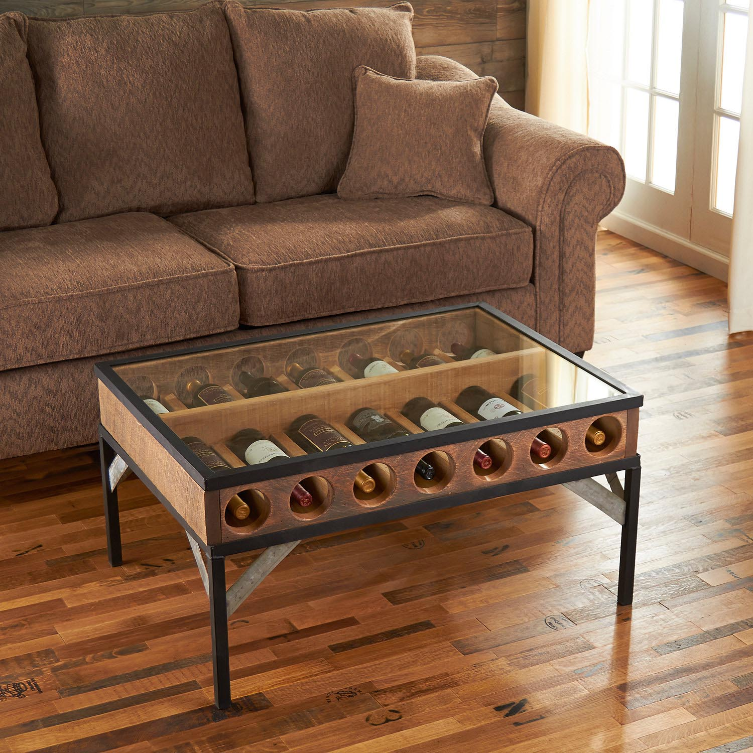 Coffee Table with Glass Top Display