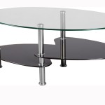 Glass Coffee Table with Stainless Steel Legs