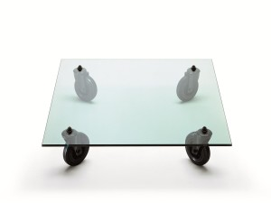 ... Glass Coffee Table with Wheels ...