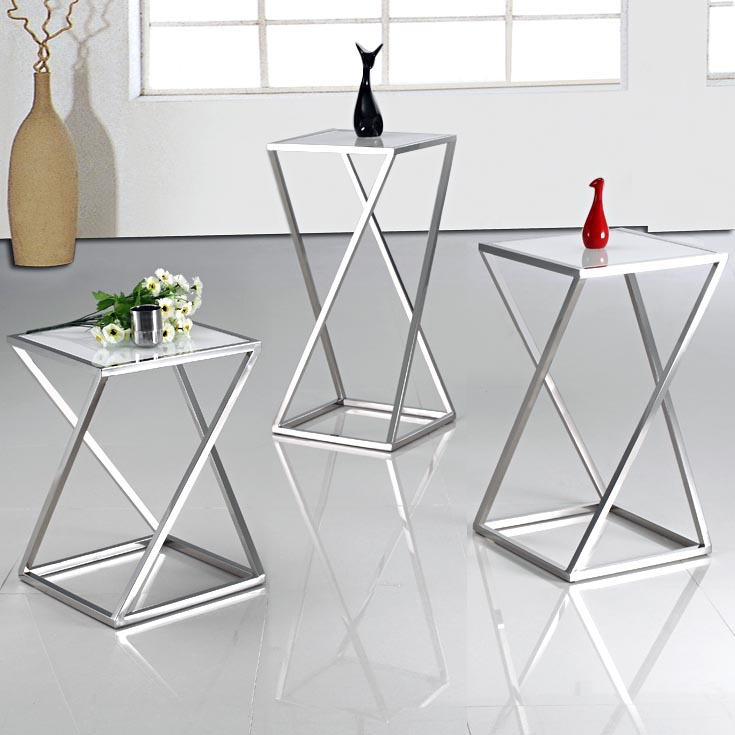Glass Stainless Steel Coffee Table