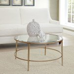 Gold Metal and Glass Coffee Table