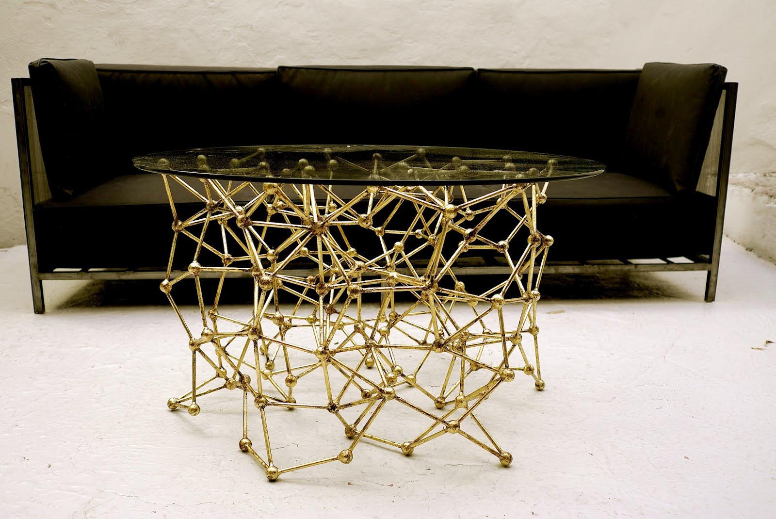 Gold Metal Glass Coffee Table
