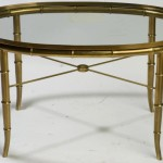 Gold Oval Glass Coffee Table