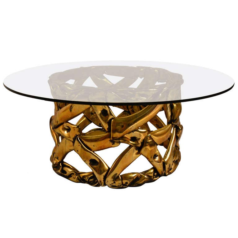 Gold Tone Coffee Table