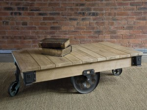 Industrial Wood Coffee Table with Wheels