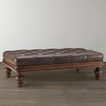 Leather and Wood Ottoman Coffee Table