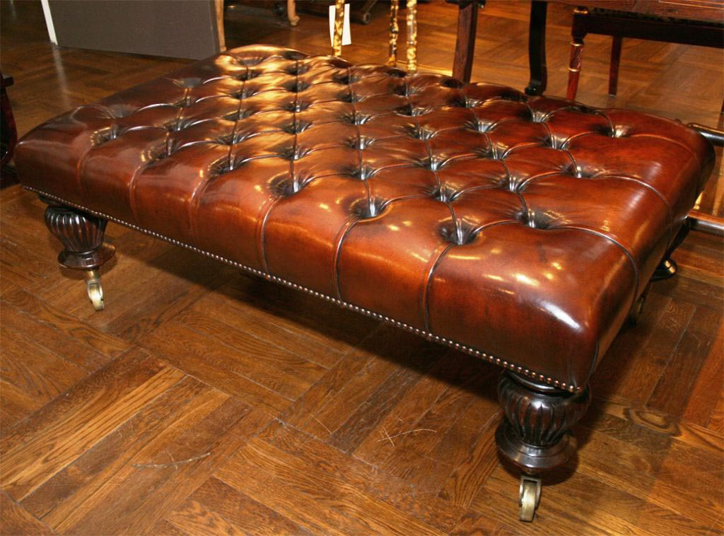 Leather Tufted Ottoman Coffee Table
