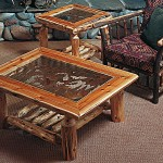 Log End Tables and Coffee Tables
