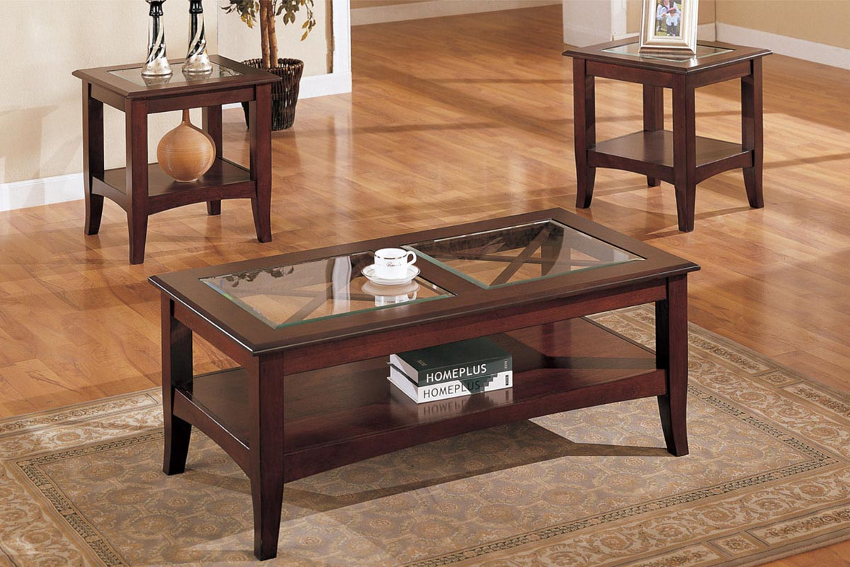 Mahogany Coffee Table With Glass Top Design