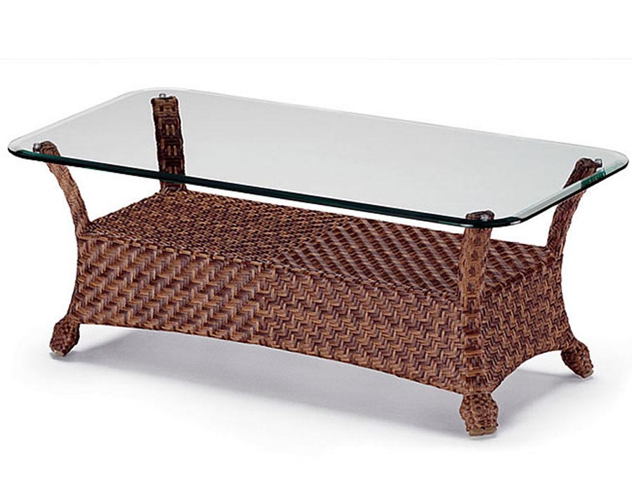 Rattan Coffee Table Glass Top