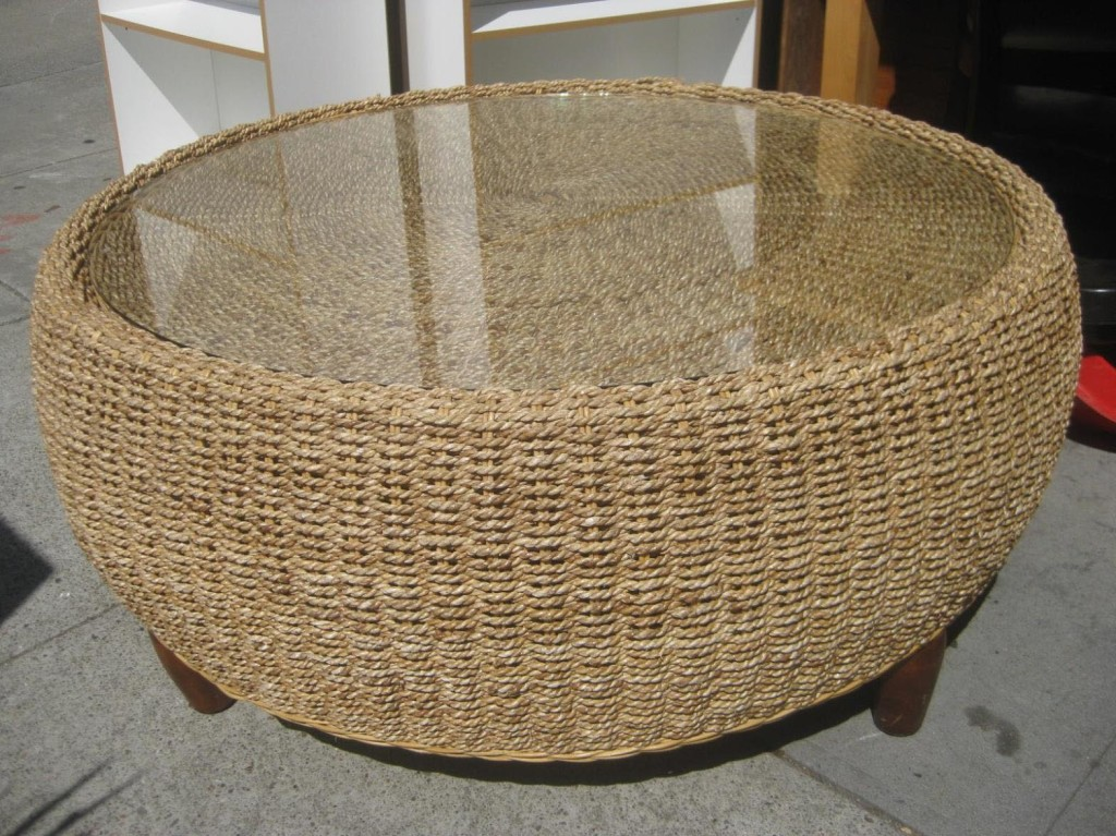 Rattan Coffee Table with Glass Top