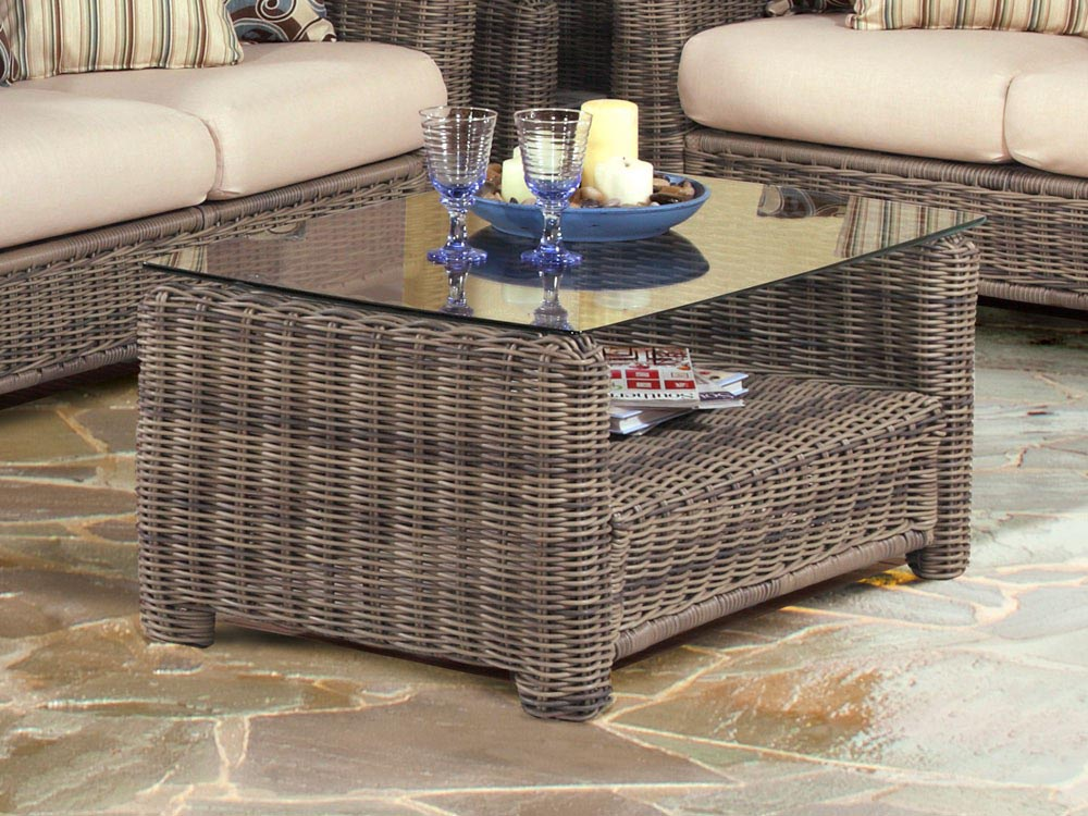 Rattan Glass Coffee Table